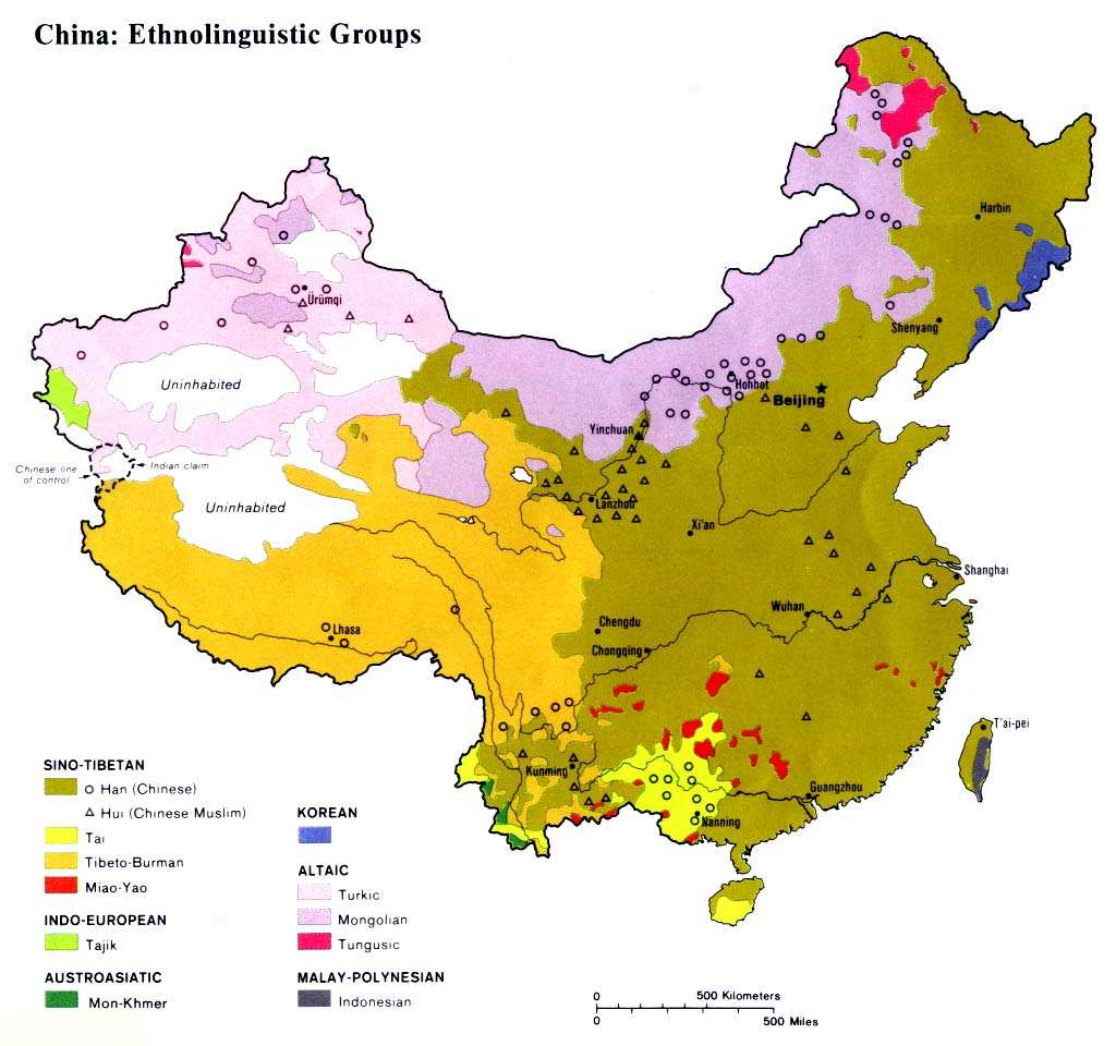 a map of china s main ethnolinguistic groups