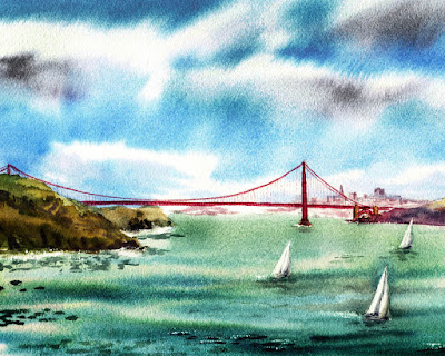 Bay Area seascape in watercolor