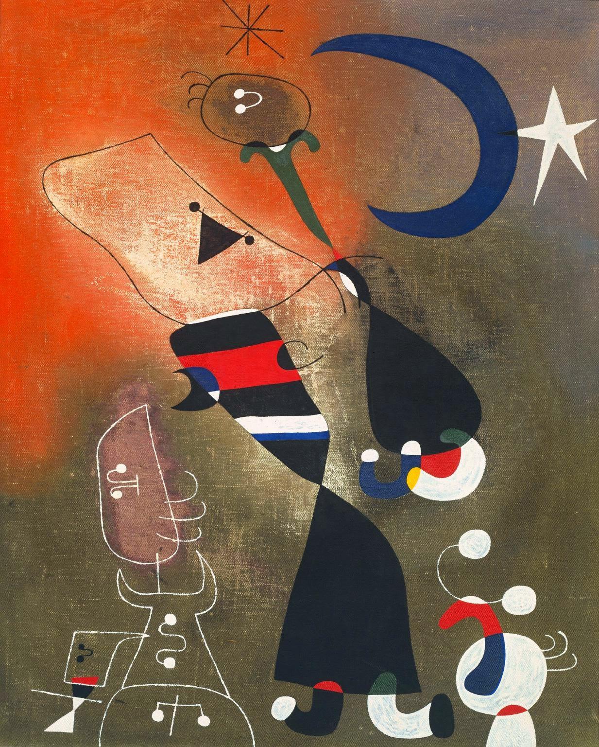Mulher e Pássaro ao Luar - Miró, Joan e suas principais pinturas