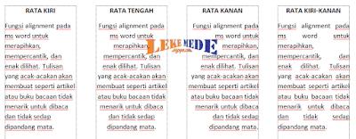 cara mengatur tulisan rata tengah kanan kiri
