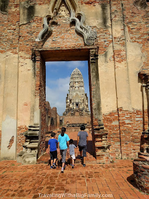 Visiting Ayutthaya Historical Park with a Big Family