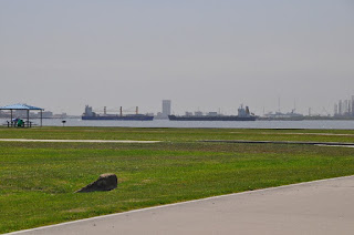 green grass and water with two ships passing and city skyline in distance