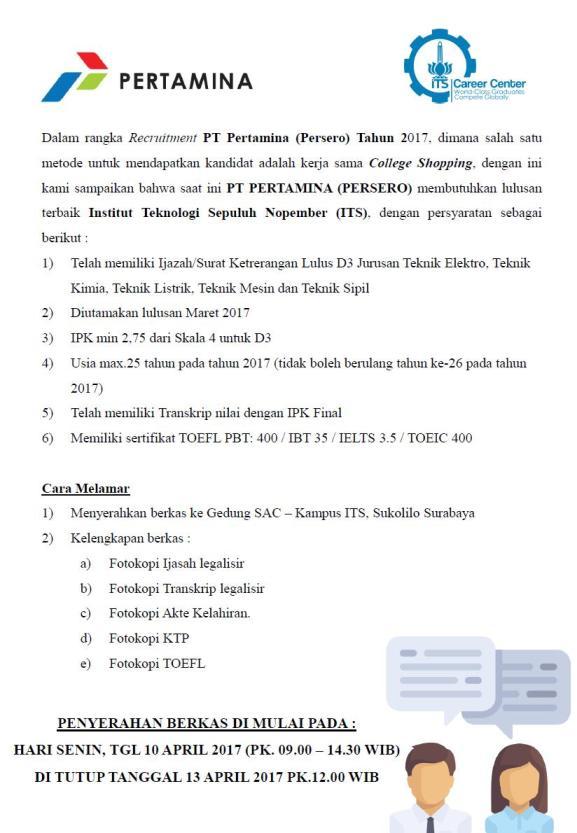 Lowongan Kerja College Shopping PT Pertamina (Persero) Lulusan ITS
