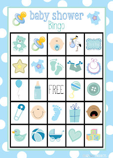 Free Printable Baby Shower Bingo for Boys.