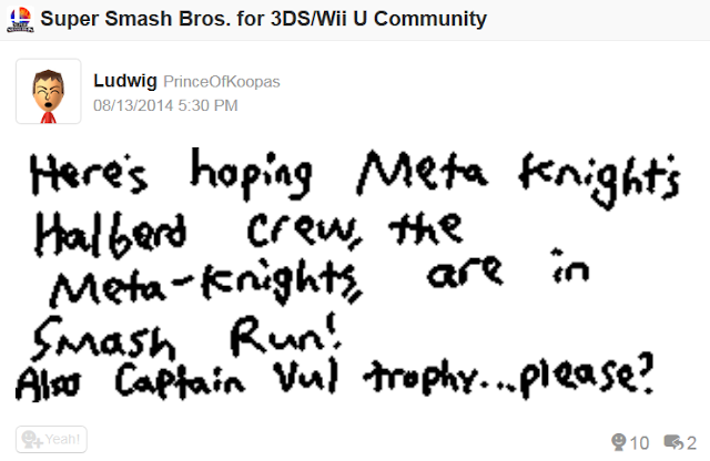 Meta Knights Smash Run Captain Vul trophy Super Smash Bros. 3DS Miiverse