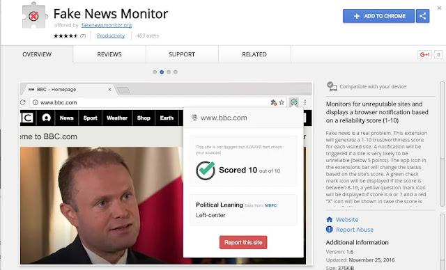 chrome plugin to avoid fake news