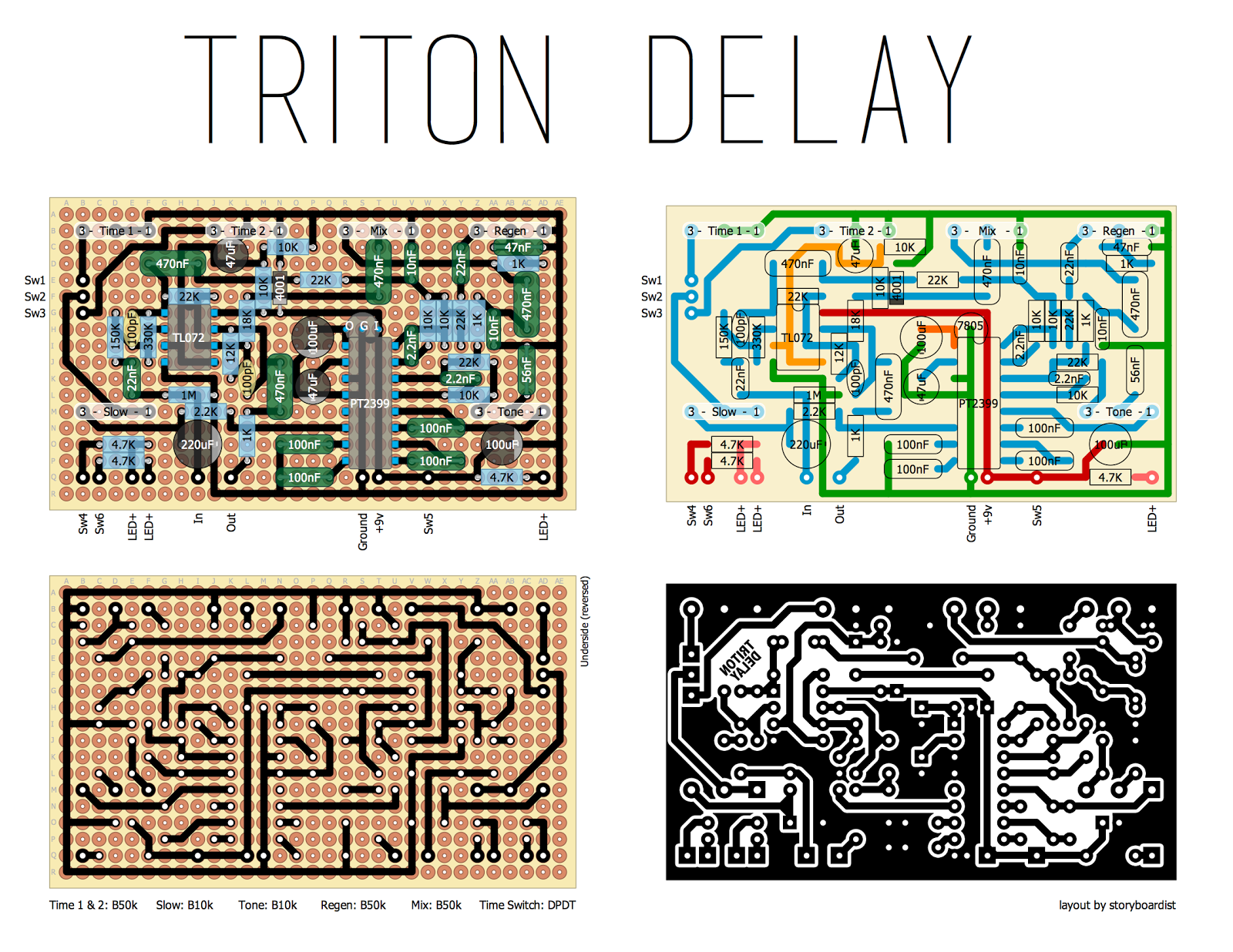 Perf and PCB Effects Layouts: CultureJam Triton Delay
