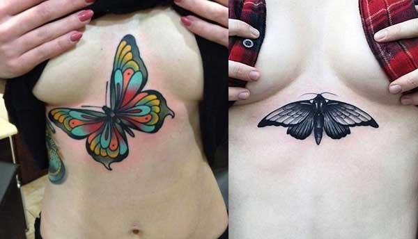 göğüs altı kelebek dövmesi