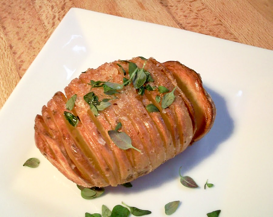 Scored or Hasselback Potatoes with Sea Salt and Thyme