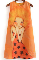 cartoon print dress, orange dress, fall dress