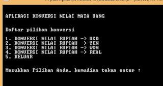 contoh aplikasi konversi nilai mata uang menggunakan bahasa C