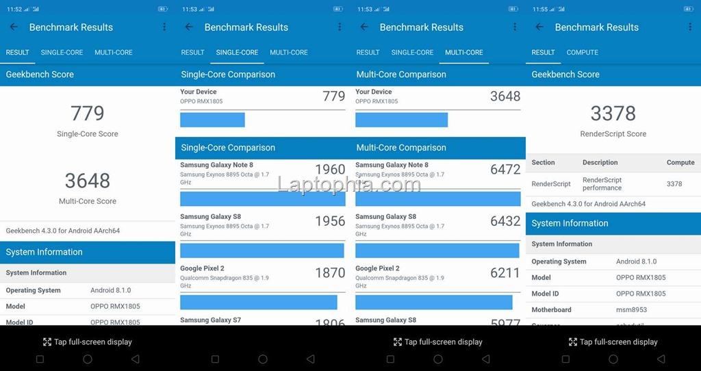 Benchmark Geekbench 4 Realme 2
