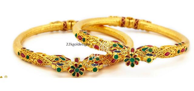 Peacock design emerald ruby bangles