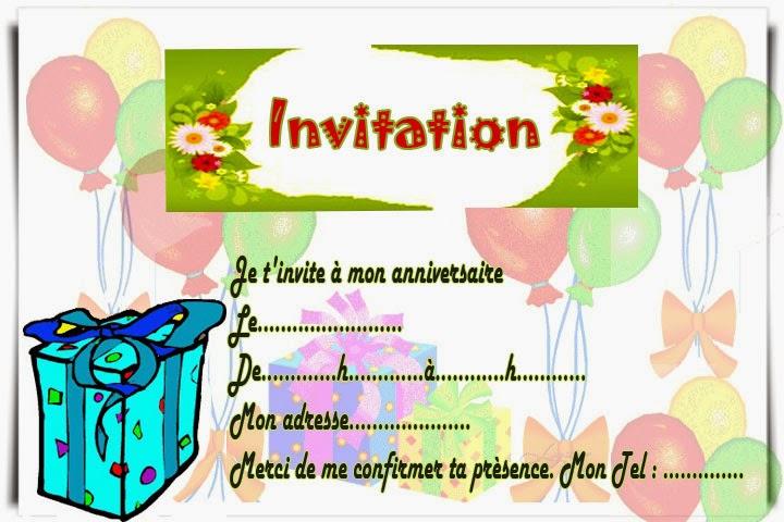 Carte invitation virtuelle gratuite à imprimer