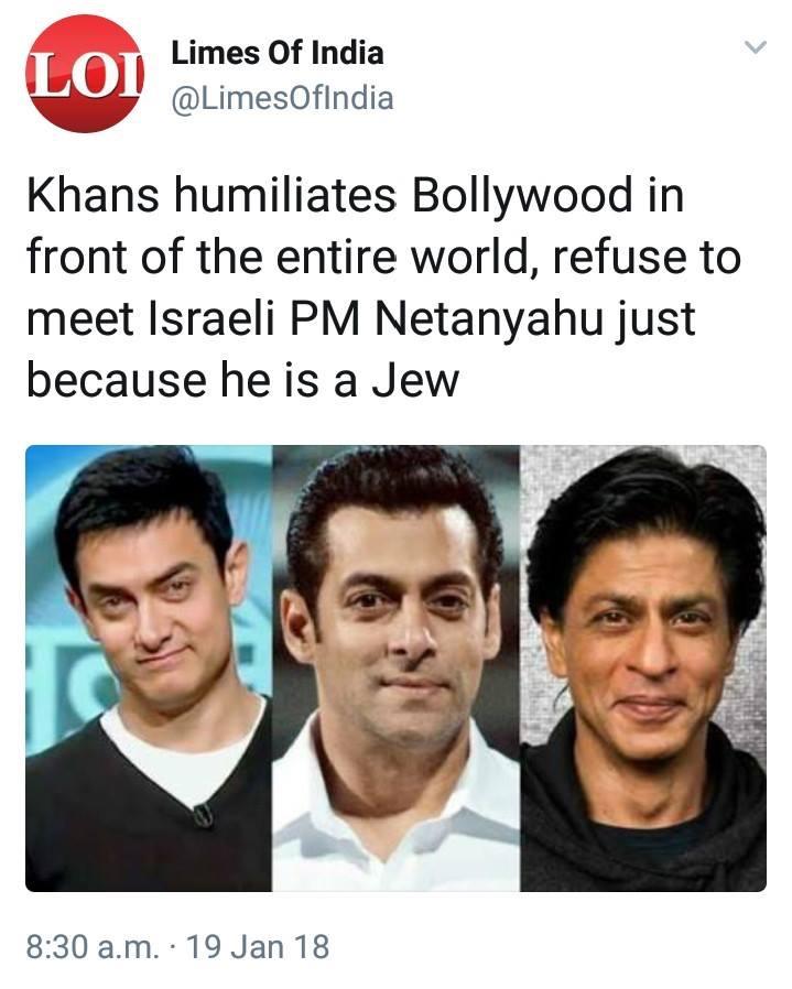 شاروخان وعامر خان وسلمان خان يرفضون لقاء بنيامين نتنياهو خلال زيارته للهند