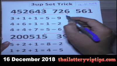 Thailand lottery 3up direct sets  win paper 16 December 2018
