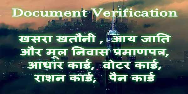 प्रमाण पत्र सत्यापन- Document Verification (certificate verification)
