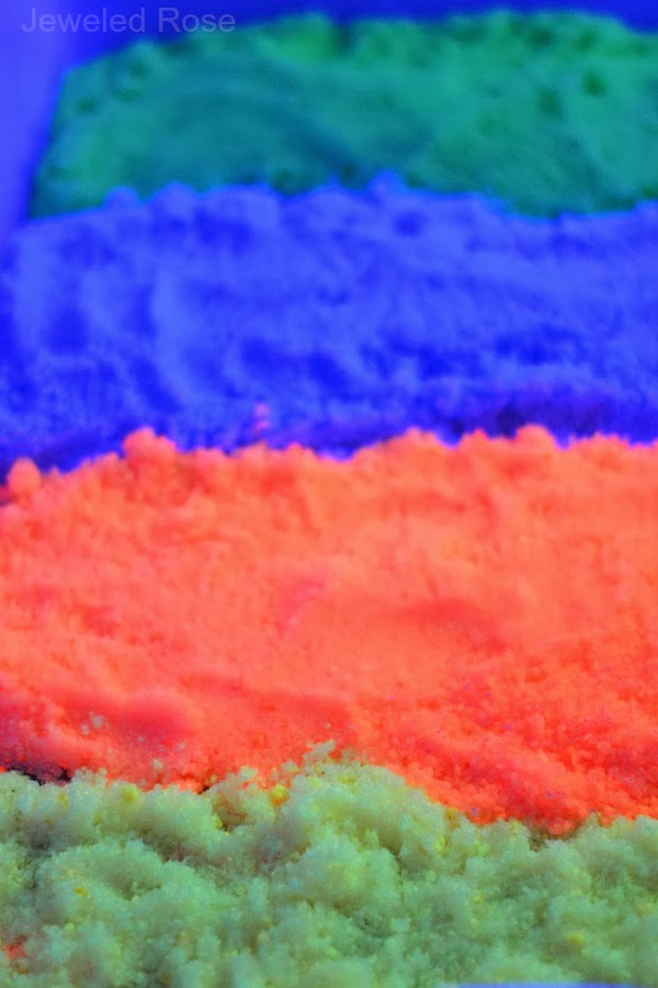 Glow in the dark rainbow sand- SO FUN!
