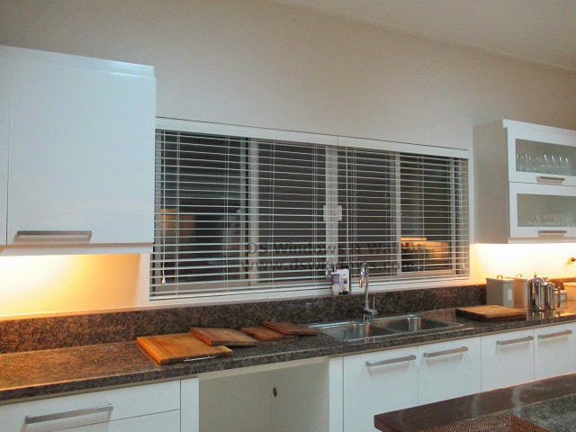 Wooden Blinds for White Modern Kitchen Design - Lucban Quezon, Philippines