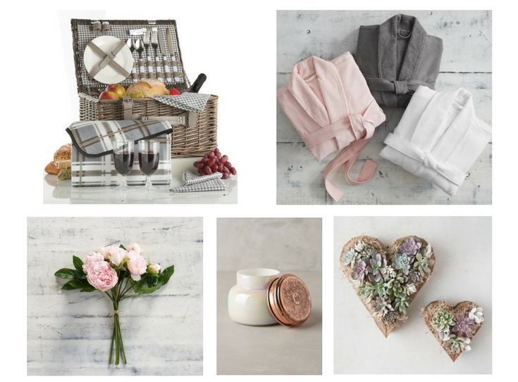 picnic basket, spa robes, peony bouquet, candle, and heart shaped succulent wall planters