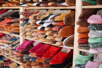 Dyed leather shoes in a Moroccan market