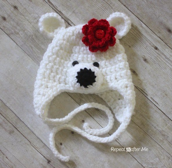 2f85a670f37 Crochet Polar Bear Hat Pattern - Repeat Crafter Me