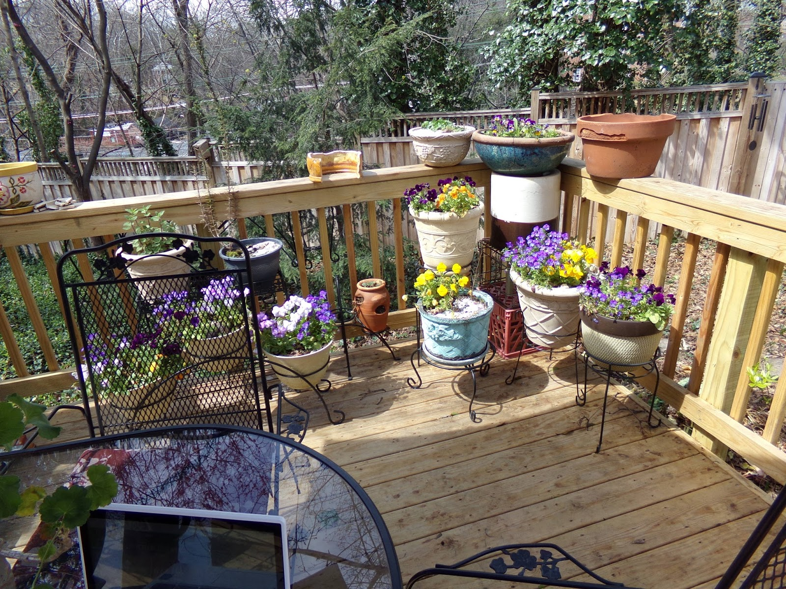 On my deck the containers of Pansies