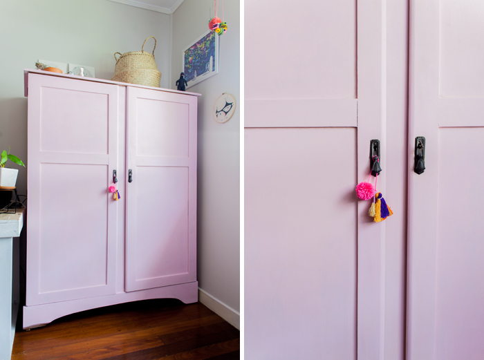 chalk painted pink wardrobe
