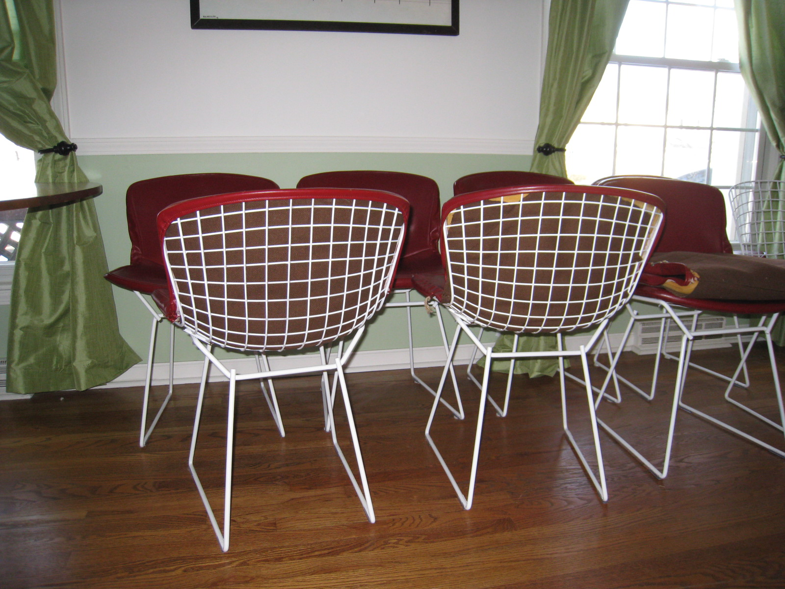 bertoia wire chair original portable baby high hook on set of 8 knoll harry chairs with cranberry