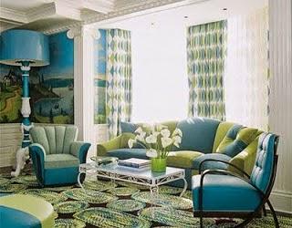 Diseño de sala en azul y verde