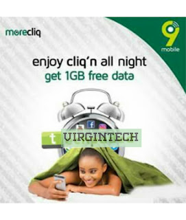9Mobile is currently giving out 1GB free data to it's Subscribers to enjoy during the night for browsing