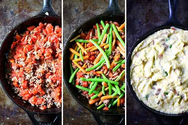 Step by step photos of how to make Skillet Shepherd's Pie