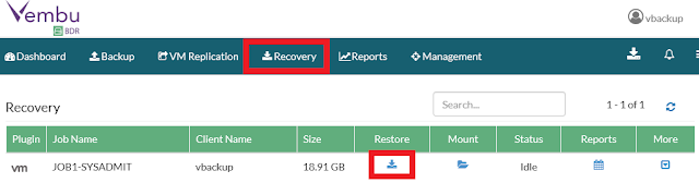 Vembu: Restore - Live Recovery to ESXi Server - Parte 2