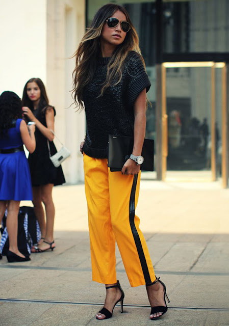 spring 2016, spring trends, track pants, side stripe pants, street style, athleisure, yellow trend, yellow pants