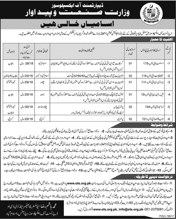 Jobs In Ministry Of Industries And Production Islamabad Aug 2017