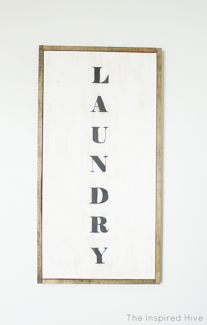 DIY Wood Trimmed Canvas Art- How to make a faux vintage sign for rustic laundry room decor