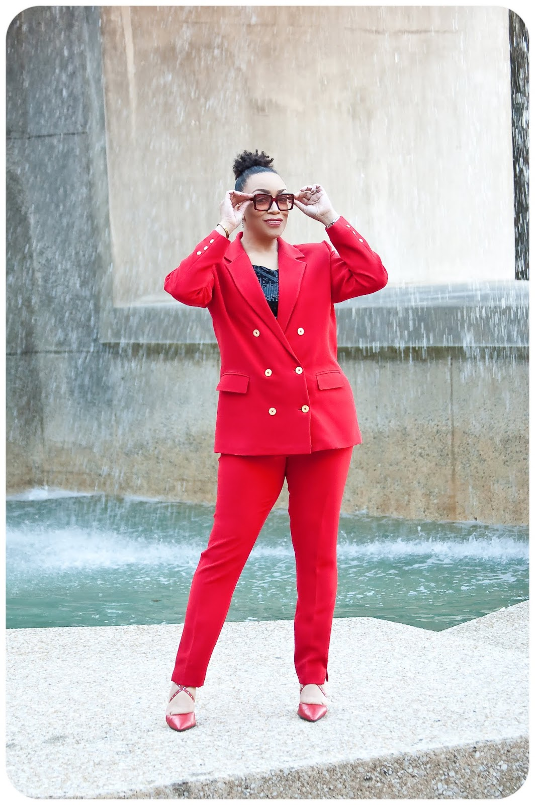 Red Power Suit: Jacket - Style Arc McKenzie Blazer; Pants - Simplicity 8749 -- Erica Bunker DIY Style!