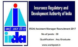 IRDAI Assistant Manager Recruitment 2017