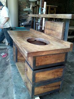 meuble salle de bain bois fer