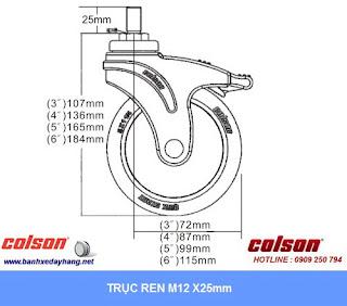 Kích thước Bánh xe cao su càng nhựa ty ren Colson chịu lực 70 ~ 100kg