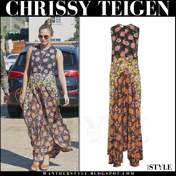 Chrissy Teigen in floral print maxi marni dress what she wore streetstyle
