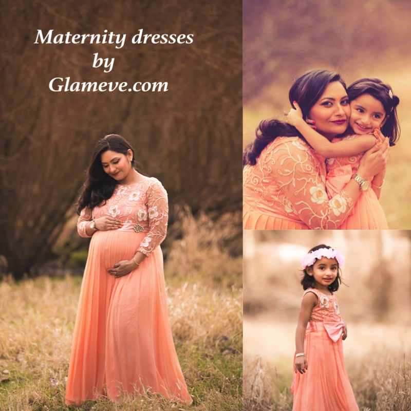 Maternity dresses, same dresses for mother and daughter, pregant lady with her daughter, famous seattle indian store