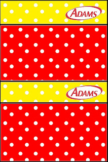 Etiquetas de Chicle Adams de Rojo, Amarillo y Lunares Blancos para imprimir gratis.