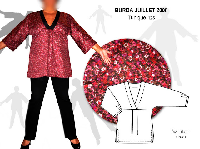 tunique burda addicts magazine patron couture juillet 2008 july top sewing pattern