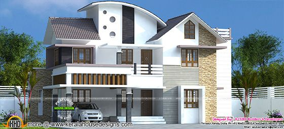 3709 sq-ft 5 bedroom mixed roof house