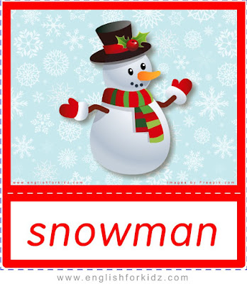 Snowman - printable Christmas and winter season flashcards