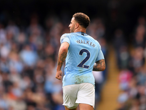 Kyle Walker of Manchester City looks on during the Premier League match between Manchester City and Fulham FC at Etihad Stadium on September 15, 2018 in Manchester, United Kingdom