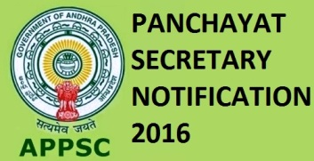 appsc panchayat secretary notification 2016