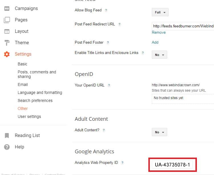 Google analytics tracking कोड कैसे अपने ब्लॉगर में जोड़े?