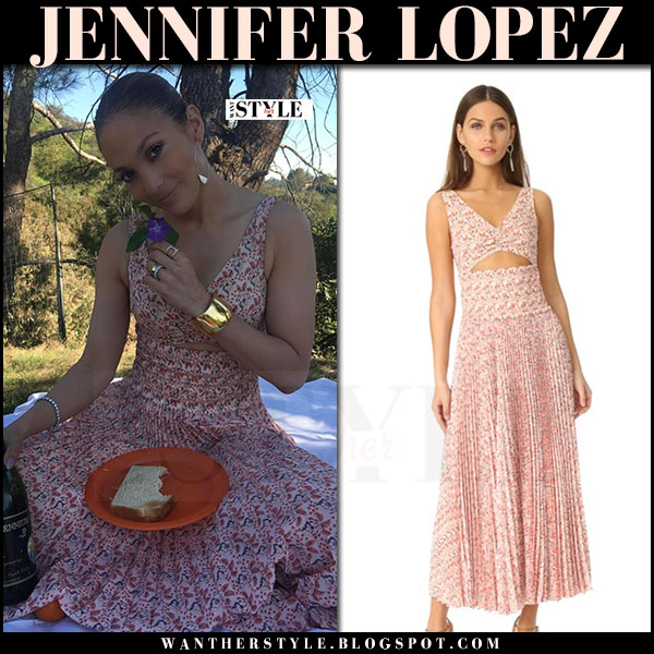 Jennifer Lopez in red floral print dress a.l.c. alec what she wore instagram march 2017